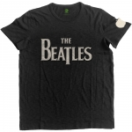 The Beatles Drop Logo Applique Slub musta T-paita koko XXL